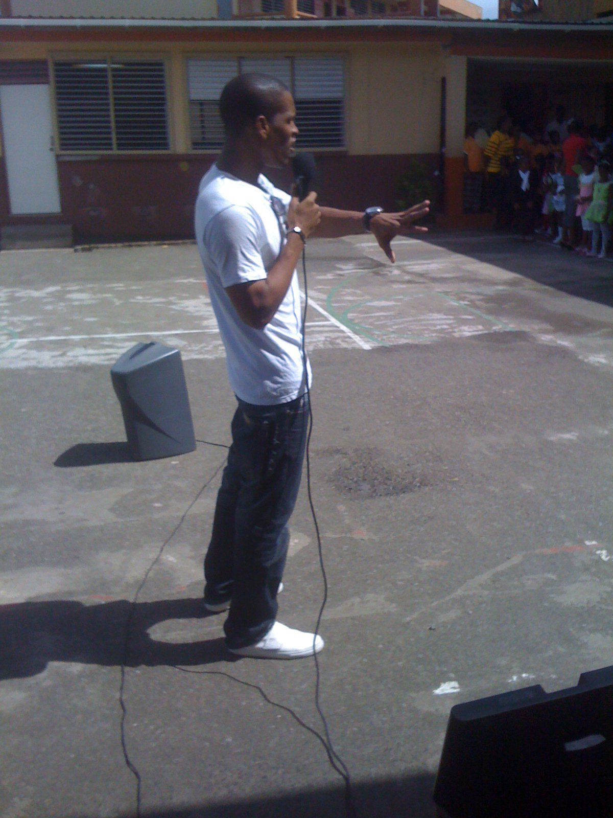 Performing at Carmen Rene Primary school
