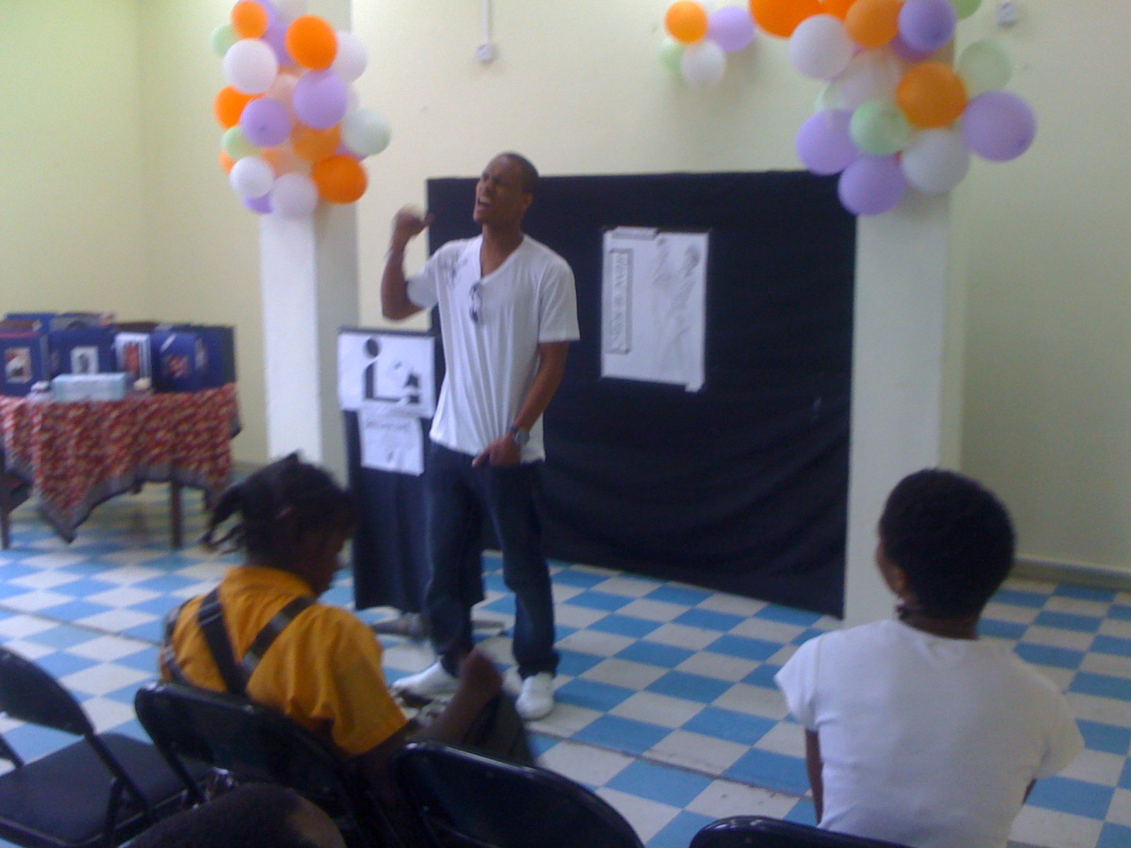 performing at Castries Central Library